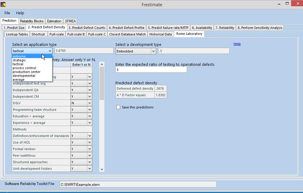 Rome Laboratory software reliability prediction